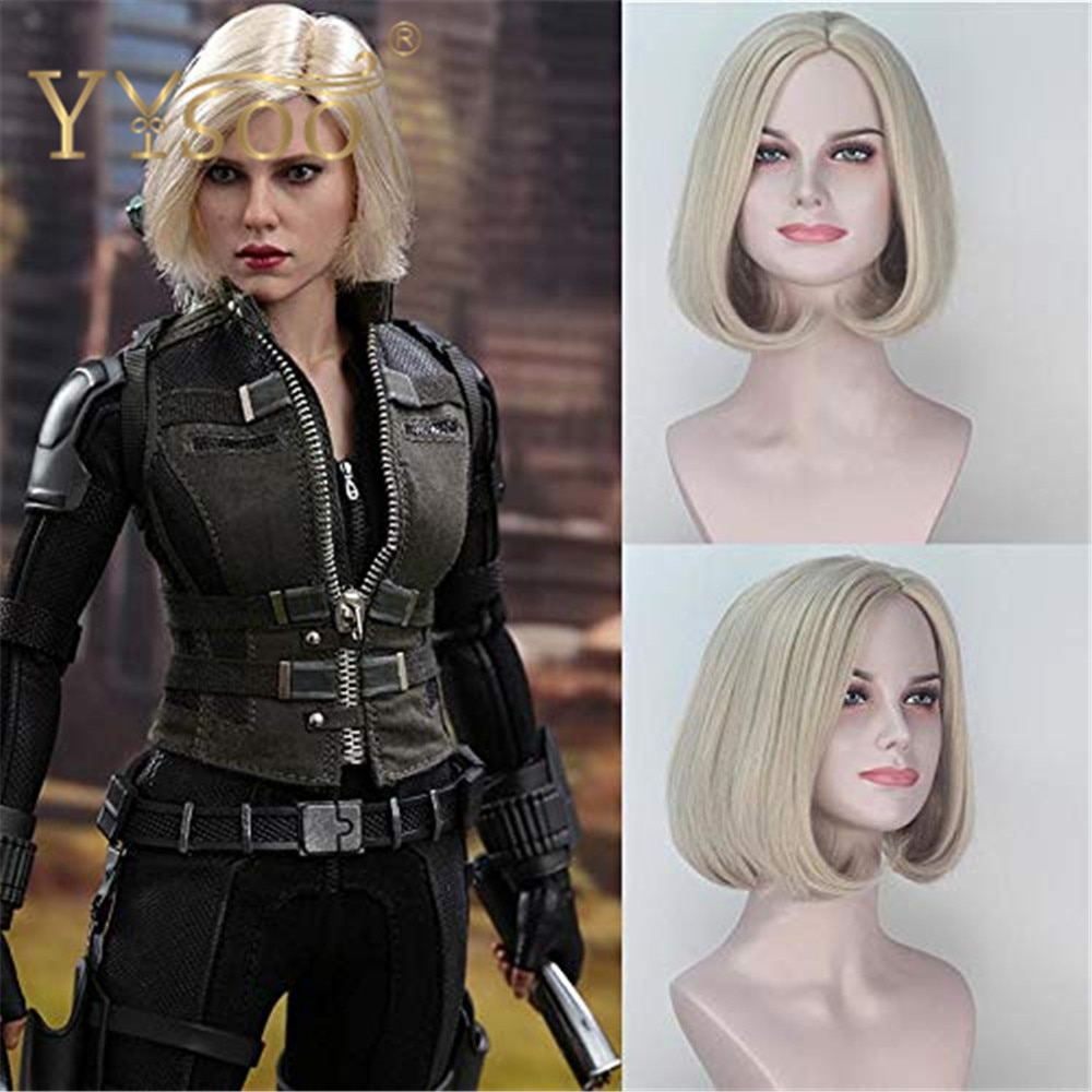YYsoo Short Bob Straight Blonde Wig Avengers:Infinity War Black Widow Cosplay Wigs Blonde Straight Anime Synthetic Halloween Wig