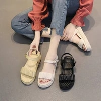 new round head womens sandals soft comfortable solid color sandals fashion flat increase sandals open toe beach shoes