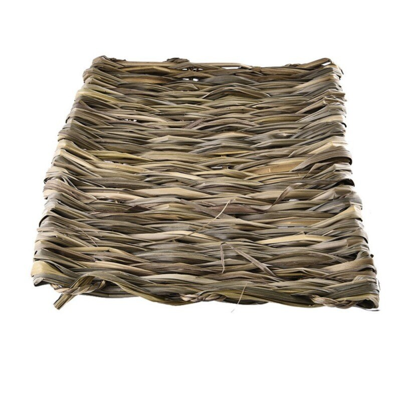 Estera de hierba para hámster, jaula para conejos, 100% para mascotas pequeñas naturales, hecha a mano, cama de nido de paja tejida para mascota, Totoro, conejillo de indias, Animal 1