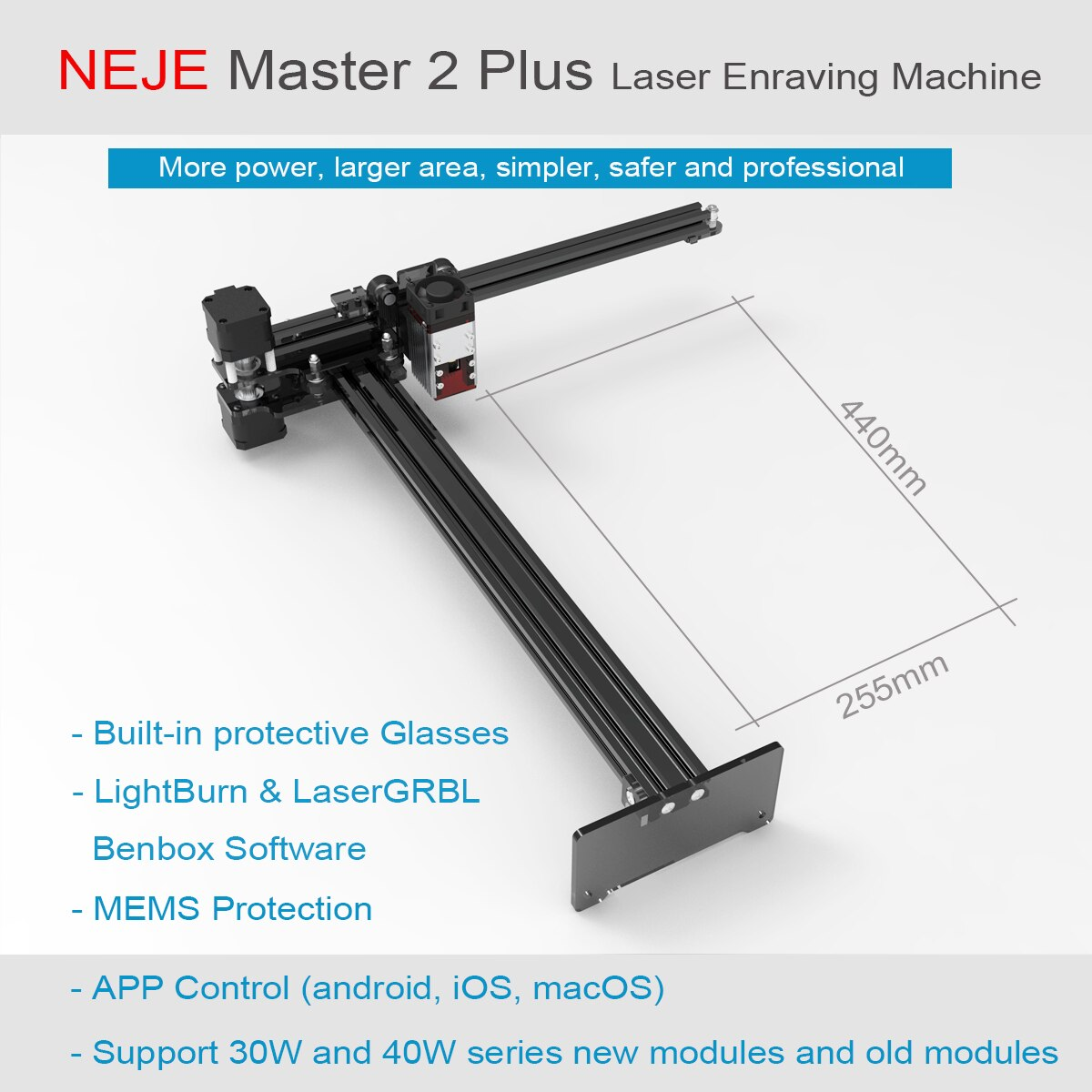 NEJE Msater 2S Plus 50W CNC Laser Engraver Cutter Module Kits APP Bluetooth Control Professional engraving metal stainless steel enlarge