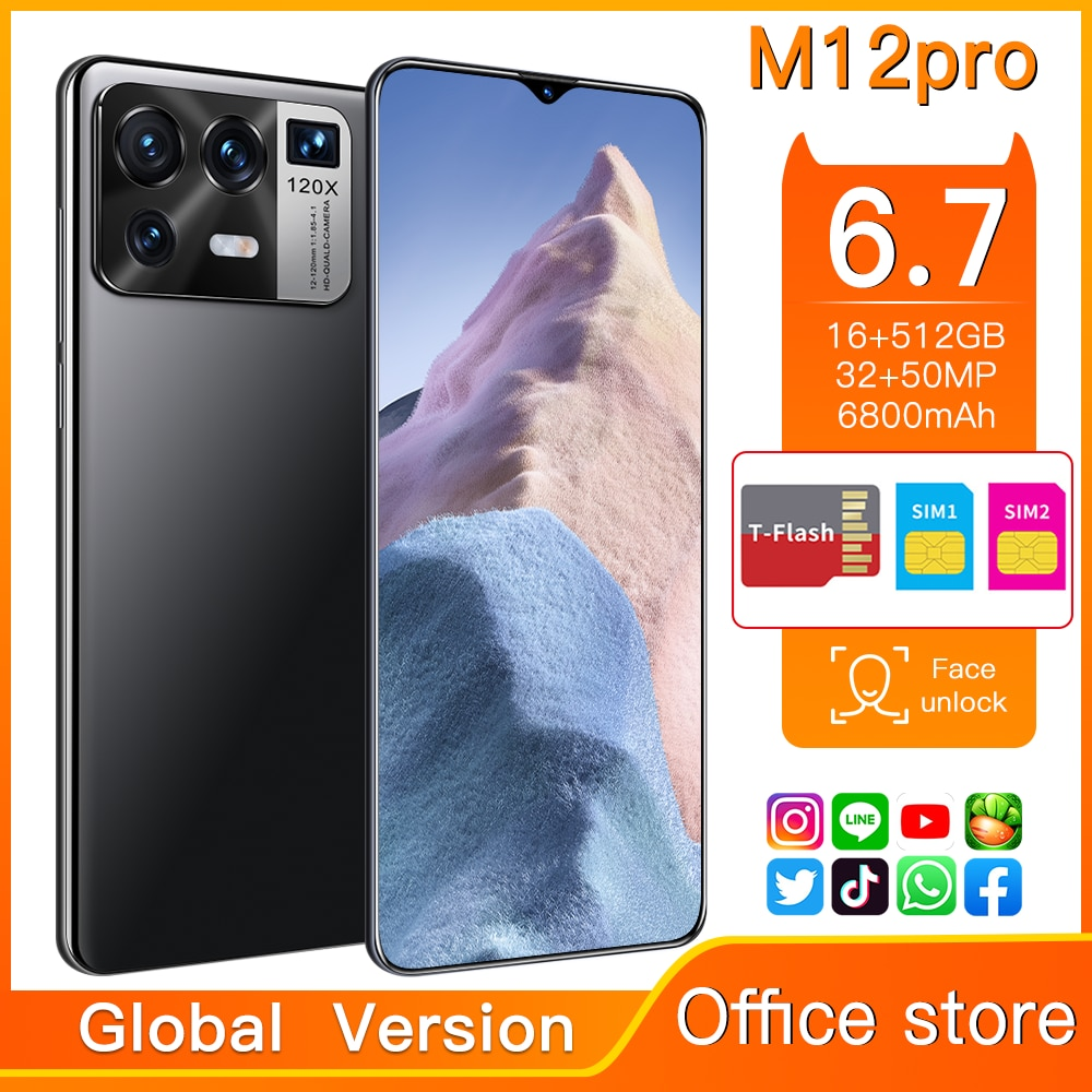 Hot Sale M12 Pro Global Version 6.7 Inch Smartphone 32MP 50MP 16GB 512GB Android11 Snapdragon 888 Fa