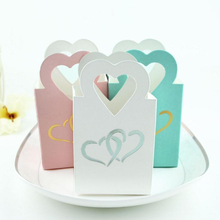 15 Uds. De Color blanco/rosa/azul cajas de Favor pintadas con corazón de dulces cajas de Favor o tratar cajas de cartón para bodas o fiestas