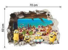 Новые 3D канализационные Миньоны настенные наклейки для детских комнат и детского сада наклейки для автомобиля из ПВХ плакат Гадкий я домашний декор