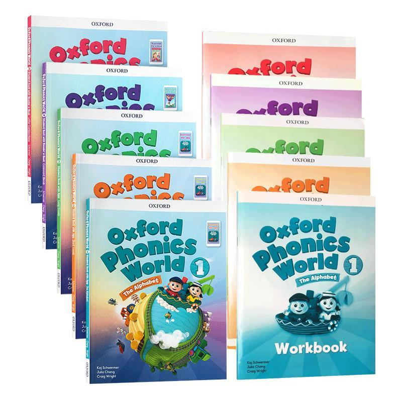 10 books Oxford natural spelling textbook Oxford Phonics World 5 textbook + 5 workbook children English teaching learning