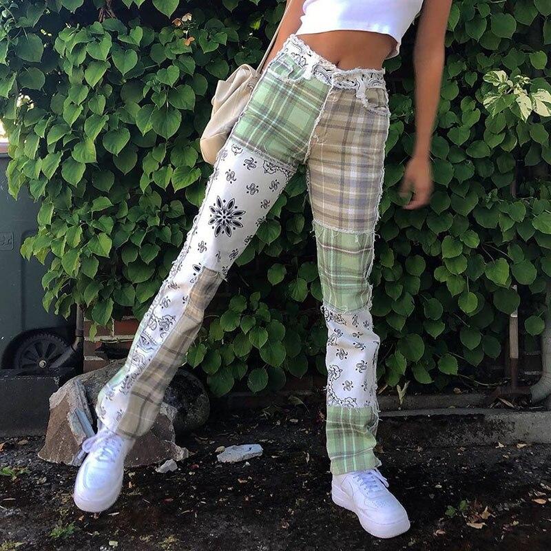 Paisley Plaid Patchwork Vintage Checkered Jeans Women Skinny High Waist Denim Pants Ladies Y2K Fashi