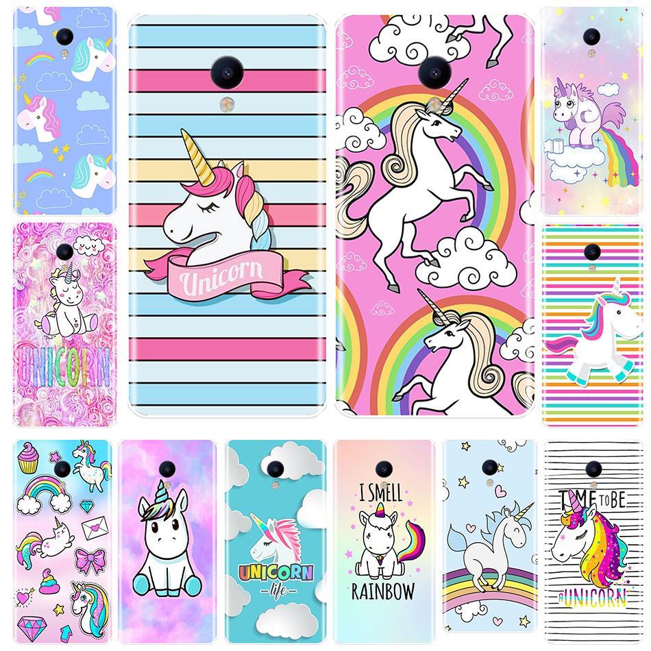 Phone Case For Meizu M2 M3 M5 M6 Note Silicone Soft TPU Back Cover Cute Rainbow Unicorn Meizu M6 M6S