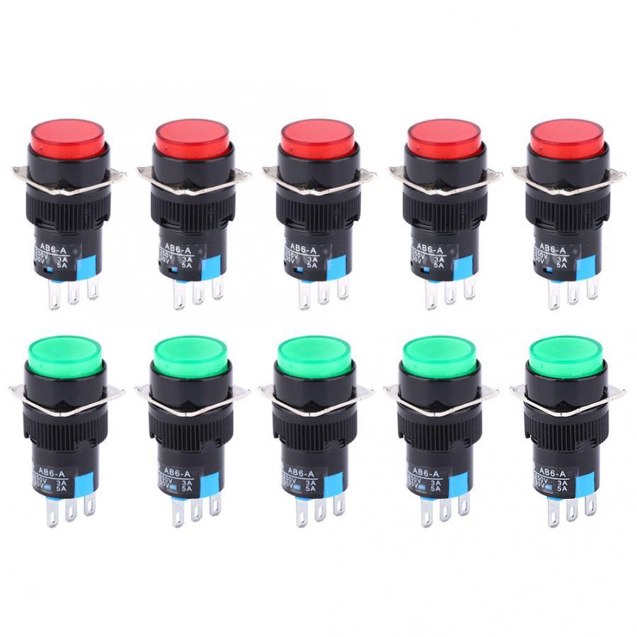 5 uds 3PIN de auto-bloqueo LA16-11Z AB6-A interruptor electrodomésticos accesorios de luz Industrial suministros