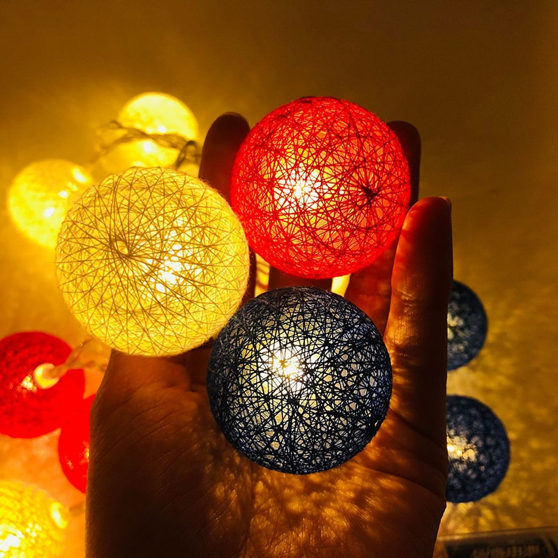 10 LED Cotton Ball String Lights Battery Operated Colorful Garland Fairy Lights for Home Wedding Christmas Party Outdoor Decors 3m globe led garland starry crystal wishing ball string lights decors for curtains bedroom living room balcony christmas wedding