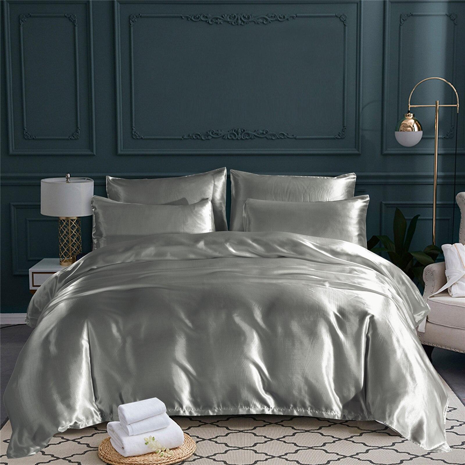 البوليستر الحرير الفراش طقم أغطية الحرير الصلبة للمنزل فندق لينة مريحة 3 قطعة مع المخدة حاف مجموعة غطاء