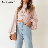 women pullover sweater t shirts sweatshirts crop tops lantern sleeve solid color loose blouse 2021 autumn spring casual knotted