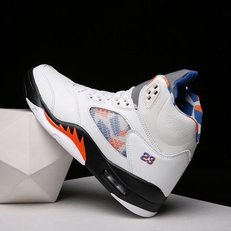 ¡OFERTA 2020! Zapatillas de deporte del baloncesto con amortiguación superior, zapatillas de cuero para hombres, zapatillas ligeras transpirables, botas de baloncesto suaves para hombres, zapatos Jordan