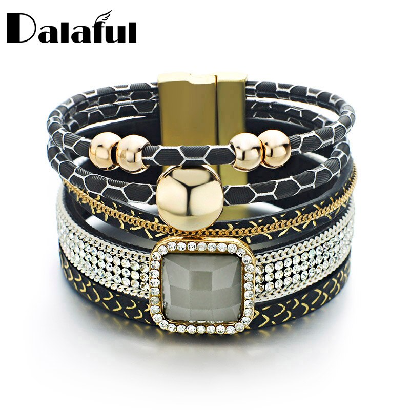 Pulseras y brazaletes de cuero con cuentas únicas, cadena de cristal con cierre magnético multicapa, pulseras de moda para mujer S409
