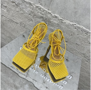 High Heel Women's Sandals Summer New Calf Strap Mesh Women's Sandal Outdoor Fashion Roman Lace-up Party Women Sandal