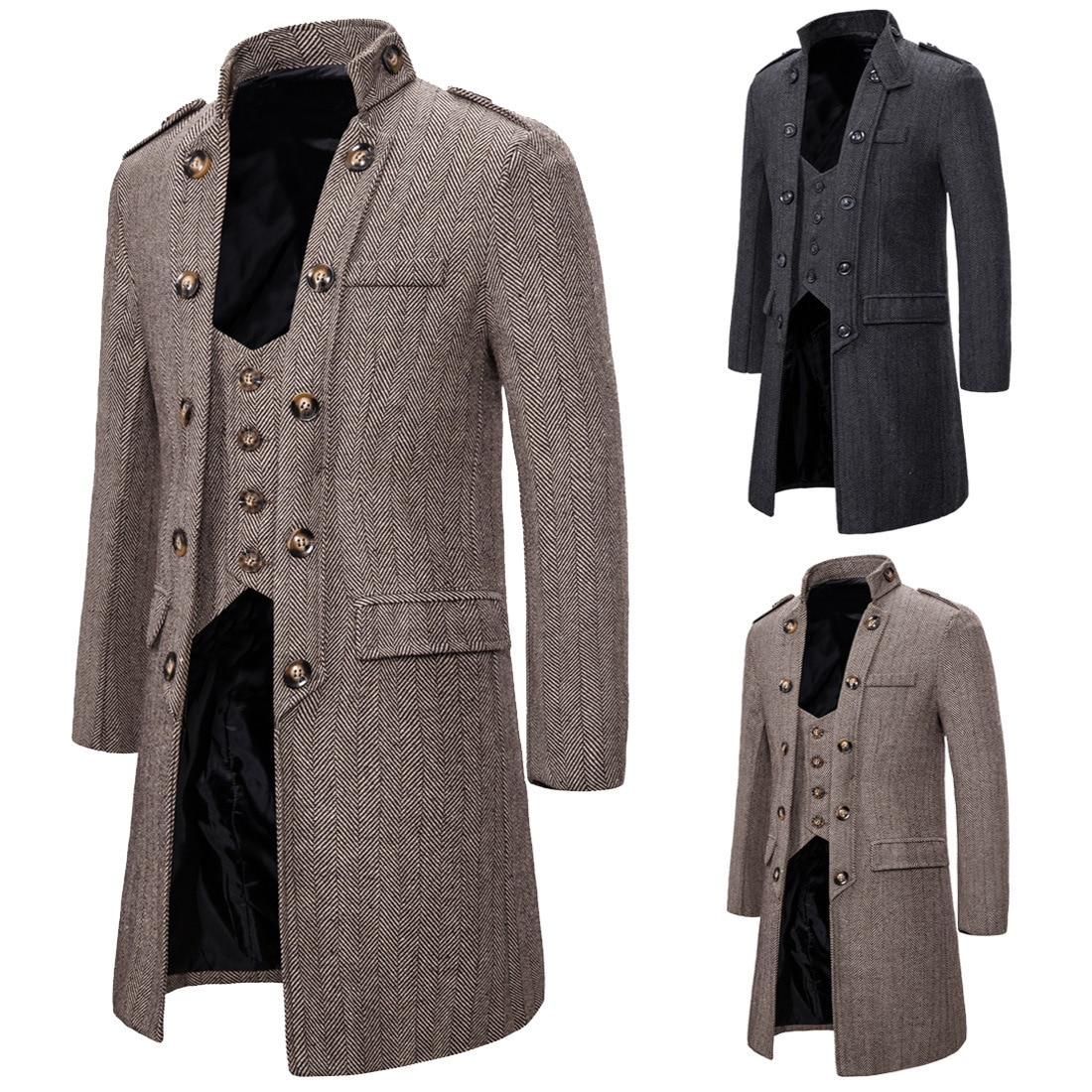 Men's brand new wash creative personality long style fake two coats fashion business casual windbrea