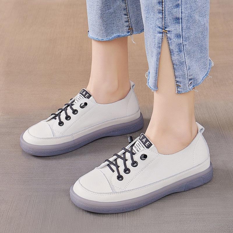 Sapatos de Couro Moda Tênis Sapatos Femininos Mocassins Vulcanizar Primavera Verão Novos Casuais Genuíno Brancos