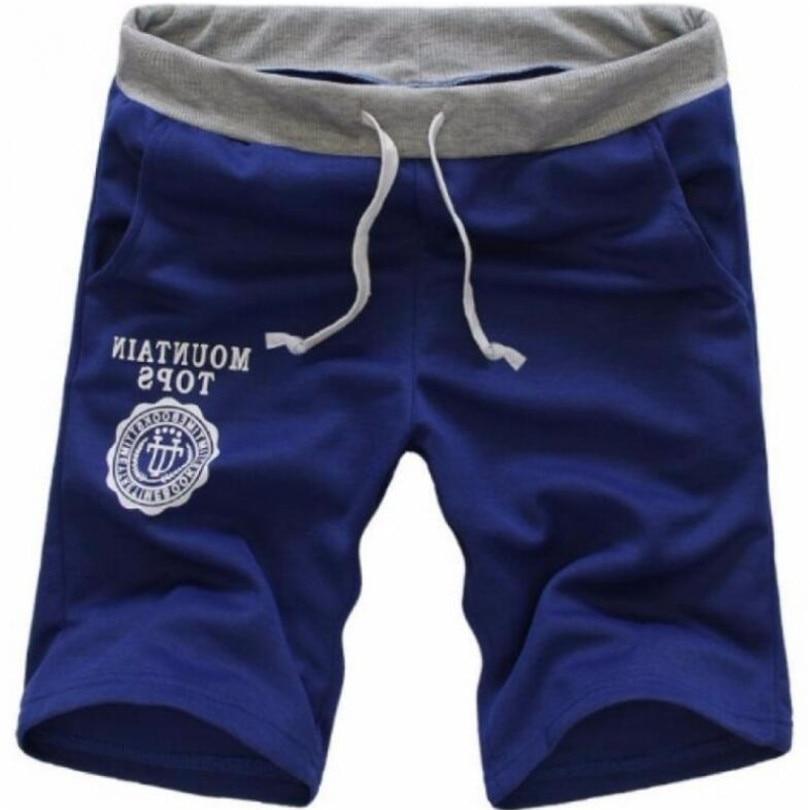 Male Shorts Summer Beach Shorts Men Classic Casual Drawstring Letter Printed Elastic Waist Hot Cotton Plus Size Shorts