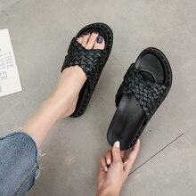 Fashion Women Sandals Plus Size  Flats Sandals Ladies Slip on Casual Weave Women Shoes Female Platfo