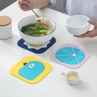 household cartoon waterproof table mat thickened pvc round coaster heat insulation pad heat resistant pot mat