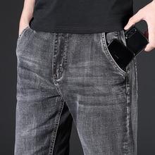 Мужские джинсы, мужские джинсы, Homme, деним, облегающие брюки, брюки, прямые, серые, байкерские, много карманов, деловые, повседневные, высокое ...