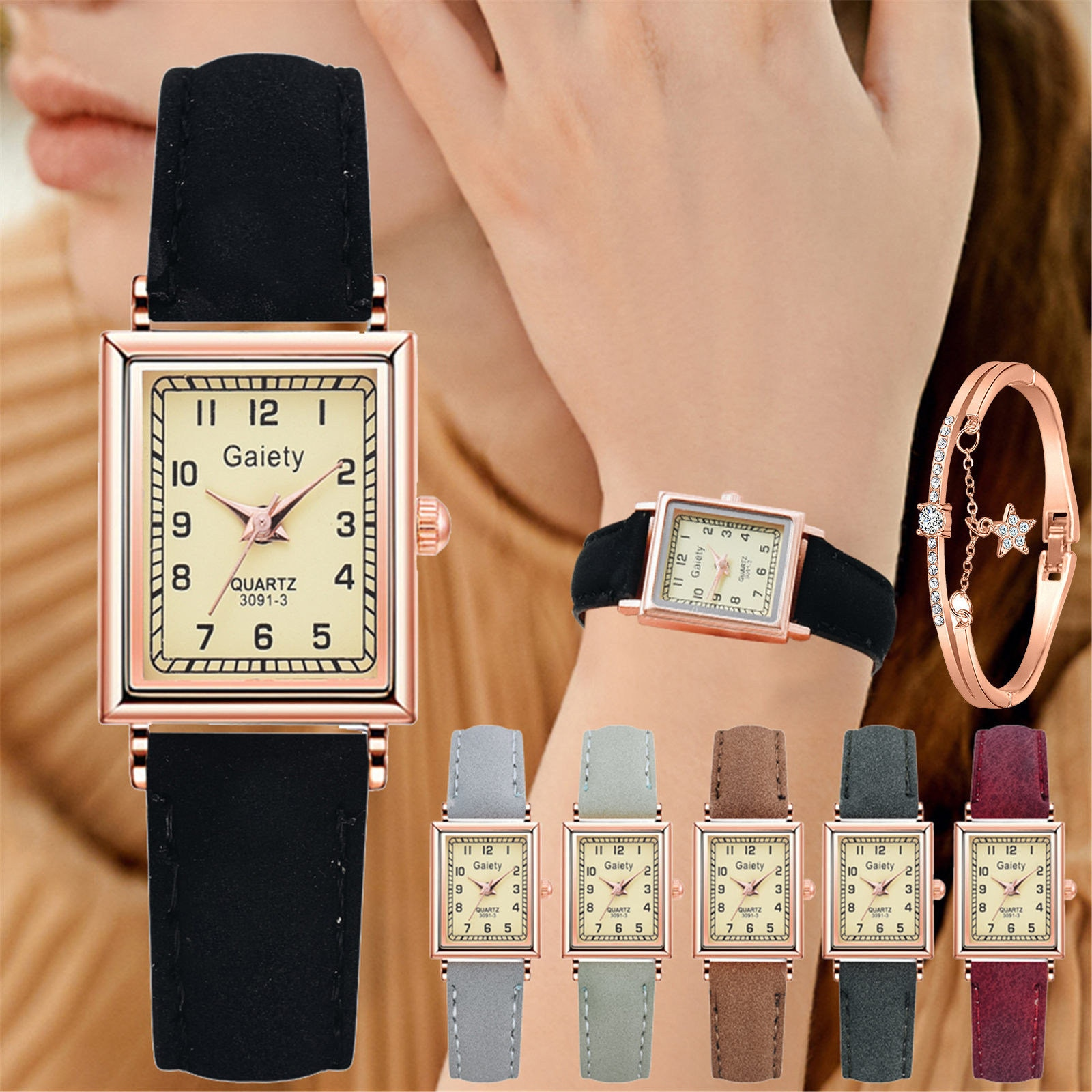 Ladies Watch Gift Set 2021 New Luxury Rose Gold Watches Business Ladies Casual Watch With Bracelet Jewelry Valentine's Day Gifts