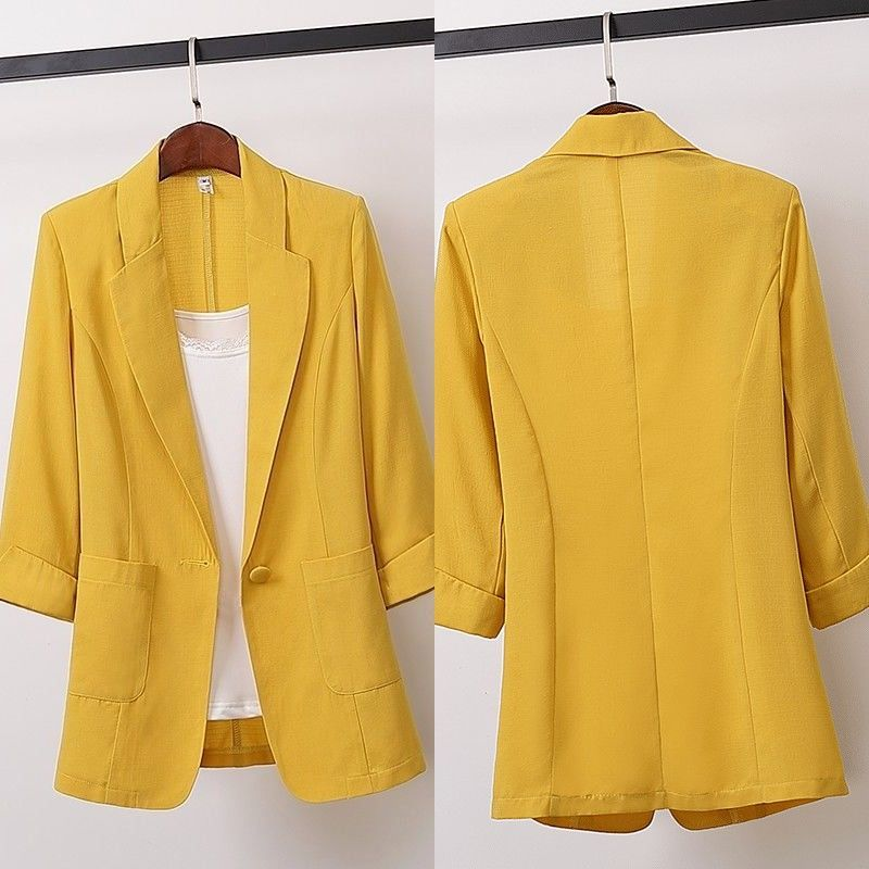 Фото - Womens Formal Workwear Office Uniform Designs Women Blazer Feminino Three Quarter Sleeve Single Breasted Women Blazers Jackets three women
