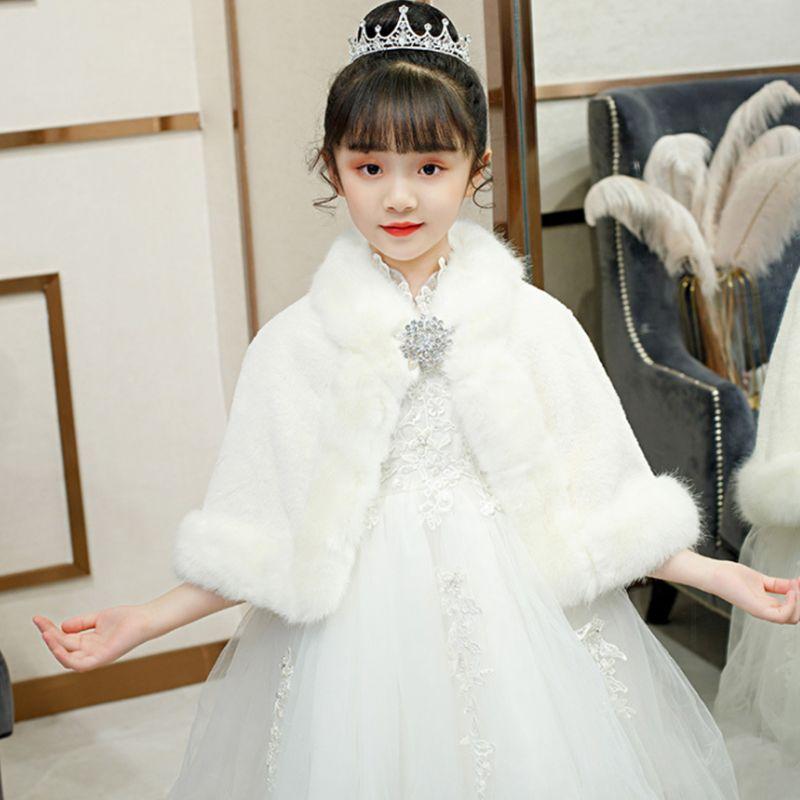 Menina casamento quente xale envoltório princesa inverno plush rhinestone bolero cape