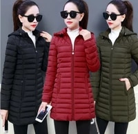 cotton padded womens medium and long cotton padded jacket winter new korean large size slim down cotton padded jacket