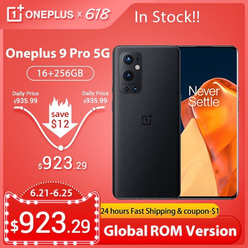 Новая глобальная прошивка Oneplus 9 Pro 5G смартфон 6,7» LTPO активно-матричные осид, Snapdragon 888 120 Гц жидкости Дисплей Octa Core 65 Вт, мгновенная зарядка