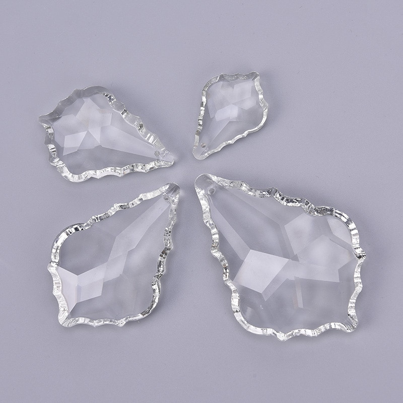 Maple leaf crystal pendant 38mm50mm63mm76mm89mm clear maple lampwork diy accessories