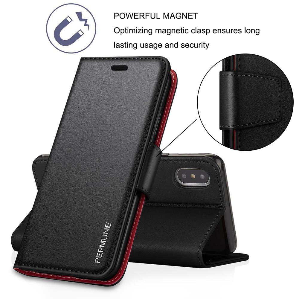 Funda de teléfono de cuero genuino de laopnut para IPhone 11 Pro Xs Max Xr X 7 8 Plus 6 6s 5 5s SE 2020, funda de silicona con tapa magnética