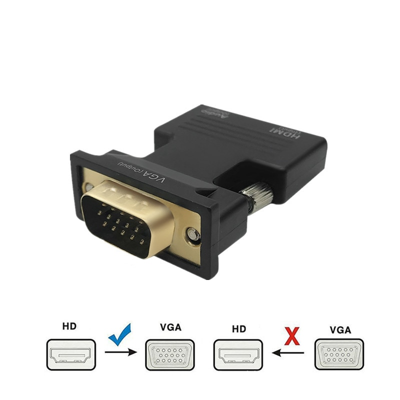 HDMI-compatible Female to VGA Male Converter 3.5mm Audio Cable Adapter 1080P HD Video Output for PC