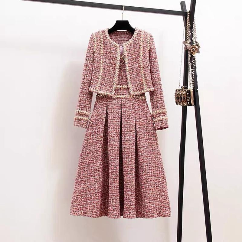 الخريف الشتاء رائحة صغيرة الديكور تويد 2 قطعة مجموعة الدعاوى المرأة طويلة الأكمام منقوشة سترة معطف سترة دون أكمام فستان