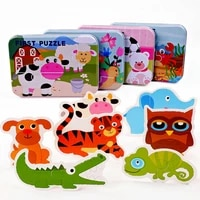 paired cognitive large 3d puzzles iron boxed children animal insect jigsaw game montessori baby homeschool supplies educational