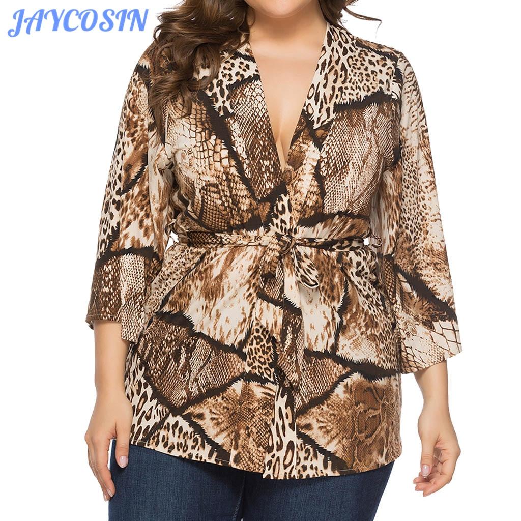 JAYCOSIN, ropa de primavera para mujer, camiseta sexi de talla grande con estampado de serpiente, rebeca abierta para mujer, camiseta de manga tres cuartos con cinturón, 2020