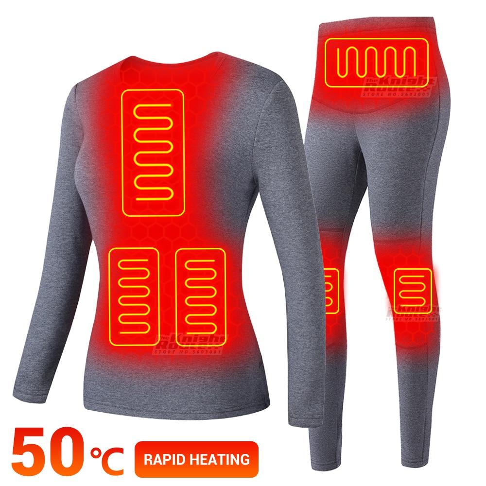 Winter Thermal Underwear Women Electric Heated Underwear USB Battery Powered Women's Ski Suit Heating Fleece Thermal Long Johns