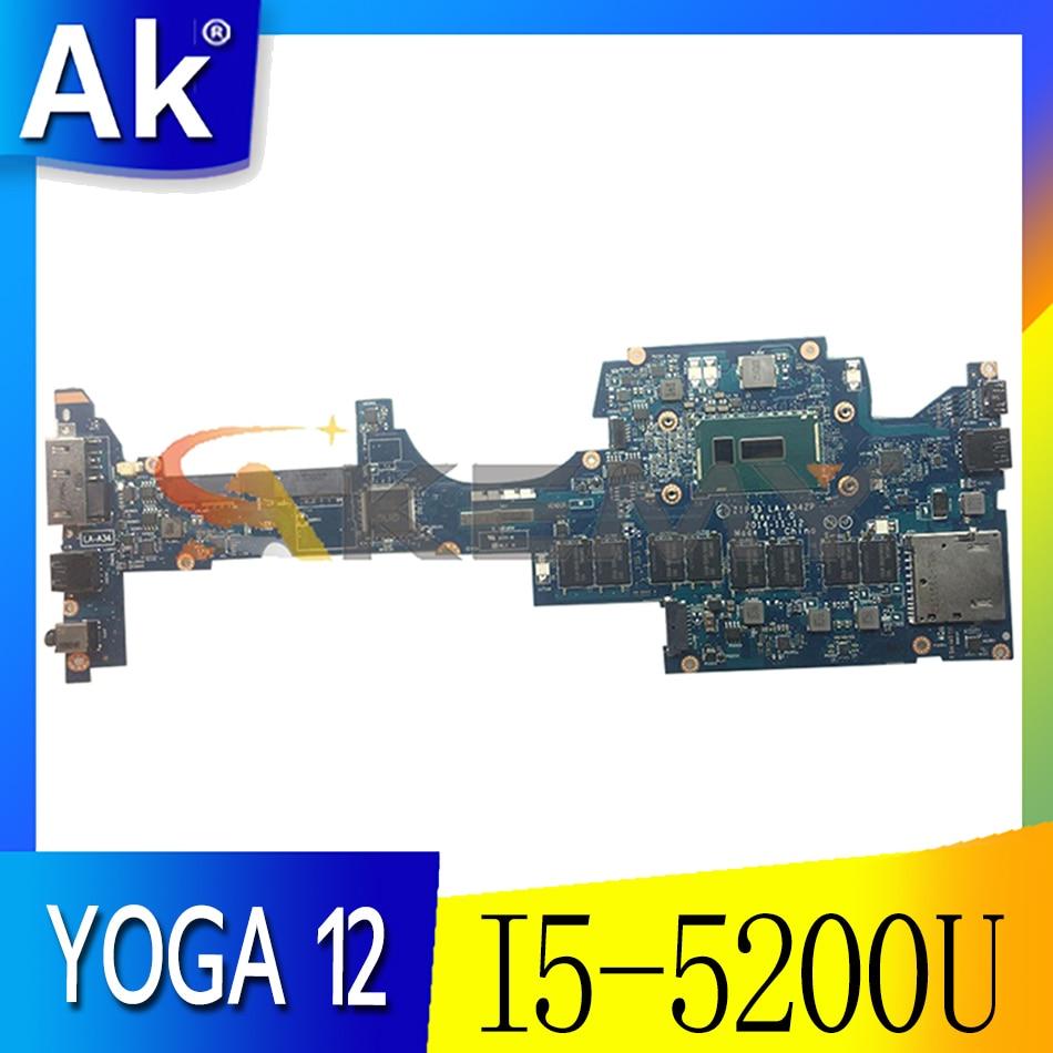 Akemy zip s3 LA-A342P لينوفو ثينك باد اليوغا 12 اللوحة الأم FRU 00HT706 00HT705 01AY504 I5 5200U 8G RAM 100% اختبار العمل