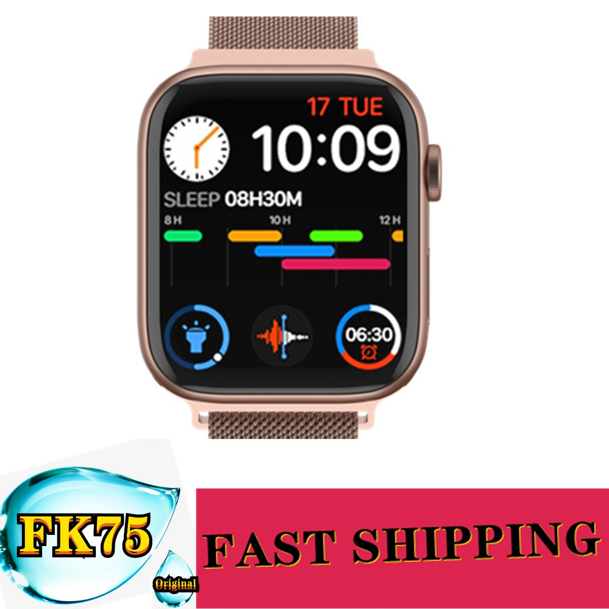 "Review 5pcs New IWO FK75 Smart Watch Series 6 1.75""HD Infinite Screen Bluetooth Call Custom Background Heart Rate Monitor Smartwatch"