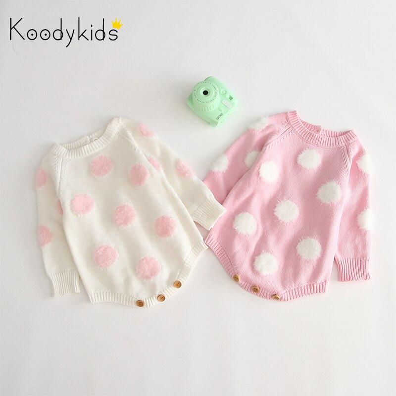 Koodykids 2020 primavera otoño bebé niña tejida Bodysuits mono de punto bebé niña pequeños Jumpersuits ropa de primavera