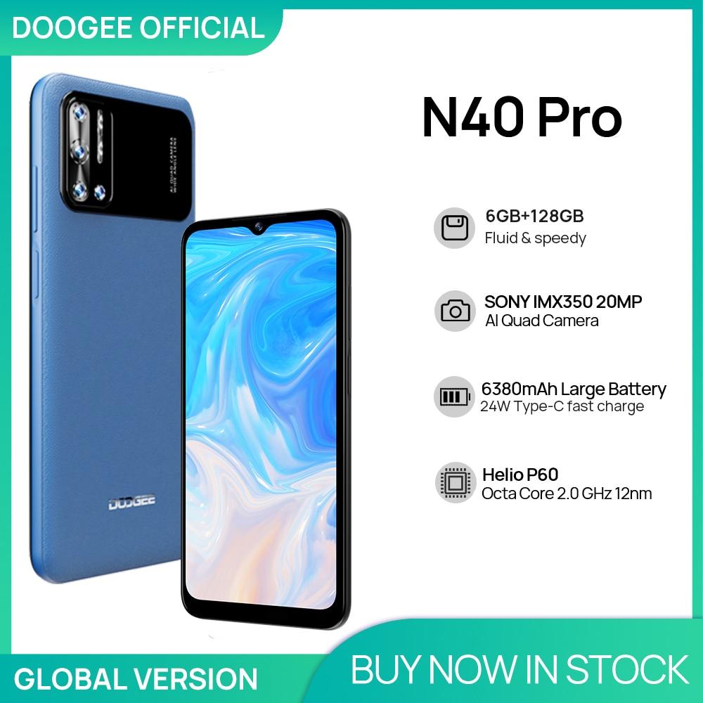 DOOGEE N40 Pro Smartphone 6.5 inch 20MP Quad Camera Helio P60 6GB+128GB Cellphone 6380mAh Battery 24W fast Charging