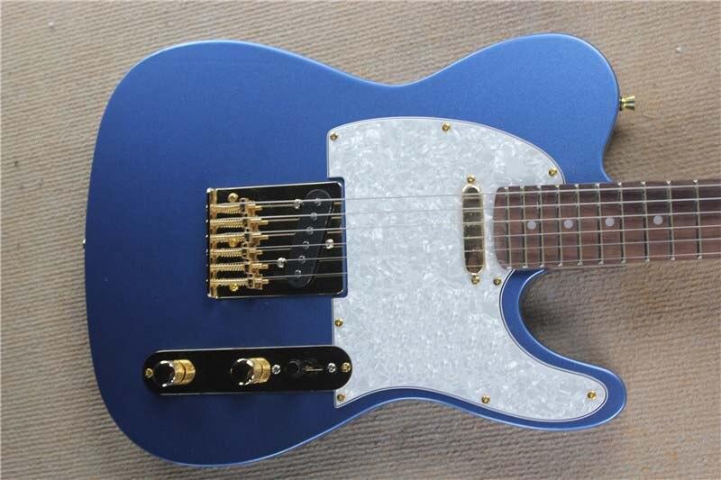 ¡Envío gratis! guitarra personalizada China, instrumento Musical de alta calidad tl guitarra eléctrica color azul, hardware dorado 10yue