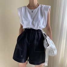 Summer New Simple and Round Neck Pullover Loose T-shirt Flying Sleeves Bottoming Ladies Top