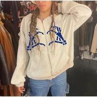 2021 autumn new fashion white sweatshirt women retro zipper hoodies love bone print long sleeve loose tops girl gothic harajuku