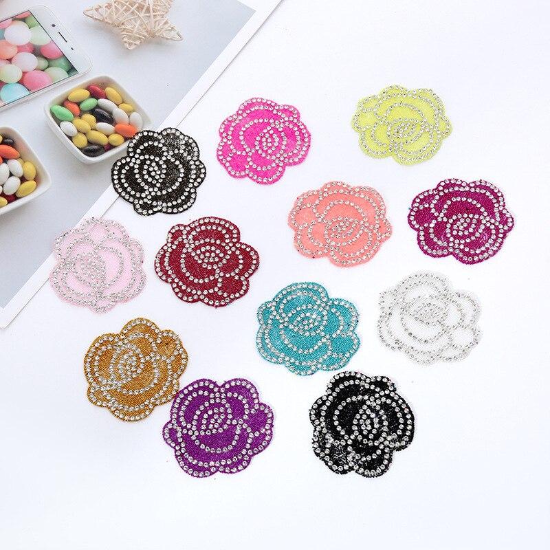10 parches de flores de diamantes de imitación de cristal para planchar la ropa, apliques de tela, accesorios de ropa