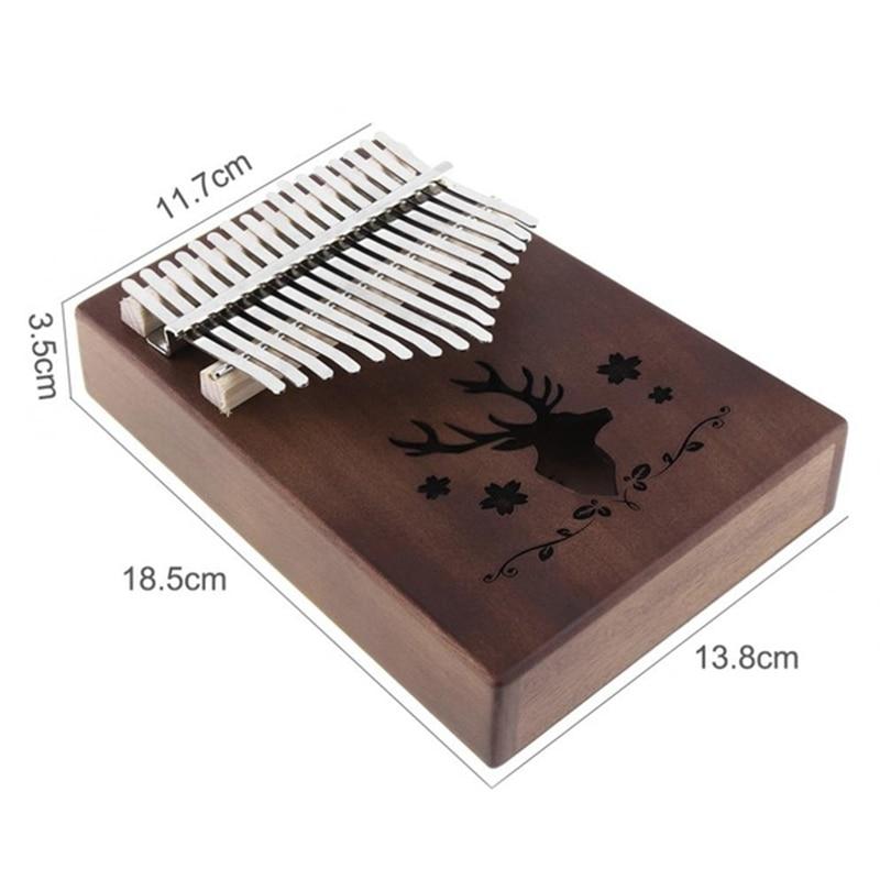 17 Key Kalimba Retro Reindeer Sound Hole Single Board Mahogany Thumb Piano Mbira Mini Keyboard Instrument enlarge