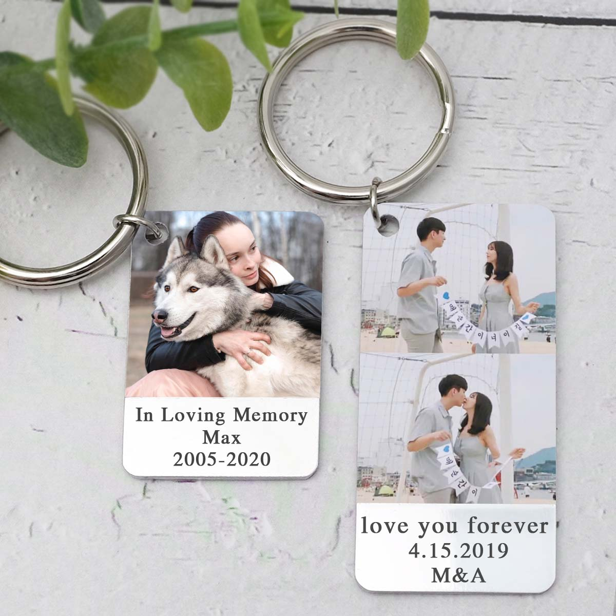Photo Keychain,Personalised Picture Keyring,Customize Text Key Chain Keepsake Gift For Him,Anniversary for Her