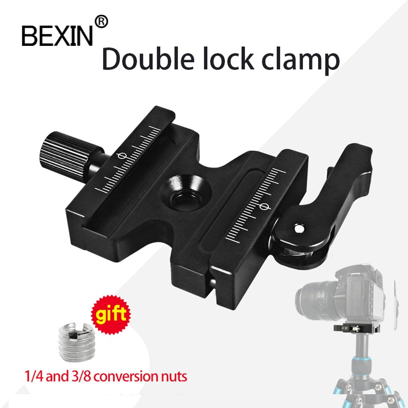 DSLR Camera Double Lock Clamp Tripod Ball Head Adjustable Knob Quick Release Clamp Mount Adapter Clip For Arca Swiss Camera bexin camera clamp tripod clamp quick release clamp ball head rrs compatible adapter mount holder bracket for arca dslr camera