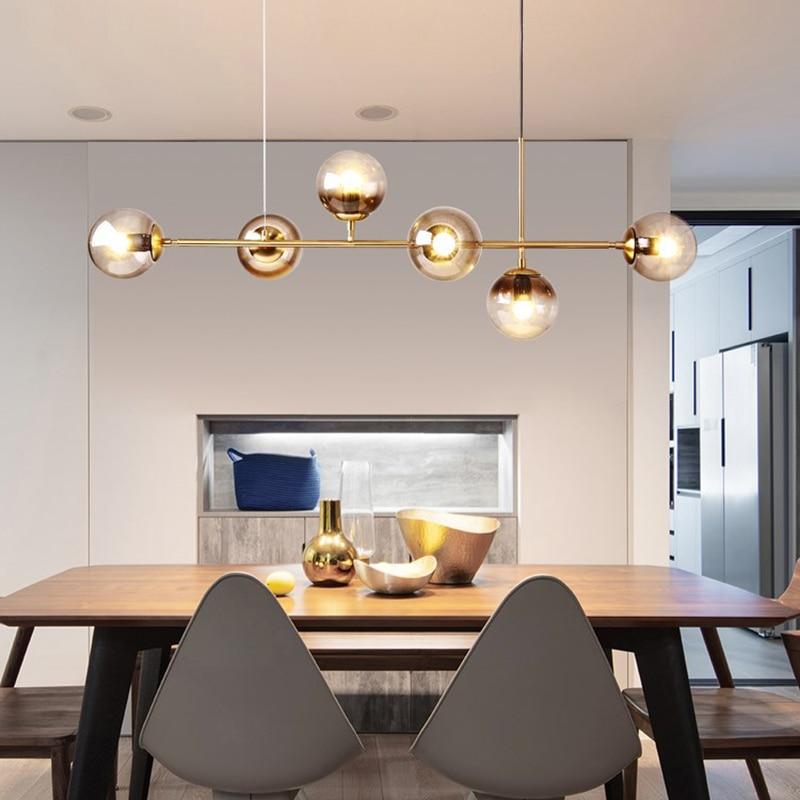 Luz moderna minimalista lustre iluminação para barra de cozinha lustre longo design led loft bola vidro pendurado luminária