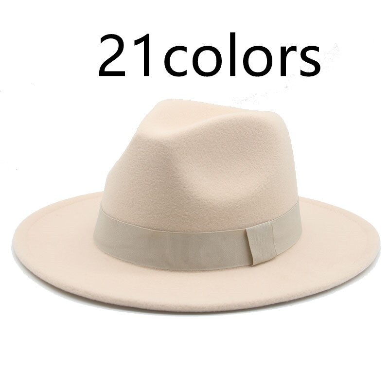 fedora hat women men ribbon band belt wide brim classic beige white felted hat british elegant fascinator men winter women's hat