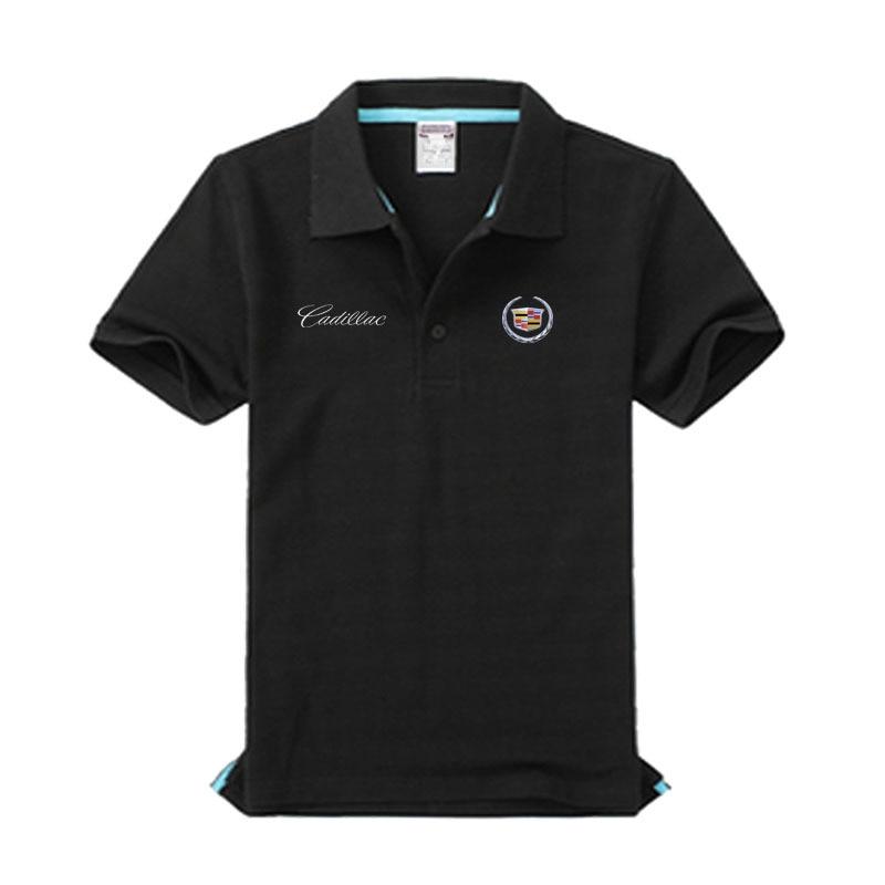 Brand clothing Cadillac logo Polo Shirt Casual solid male Cadillac polo shirt Short Sleeve High quality