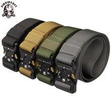 Cinturón táctico de nailon, cinturón militar de ejército, hebilla de Metal para exteriores, entrenamiento pesado de policía, cinturón de Airsoft para caza de 125cm y 3,8 cm de ancho